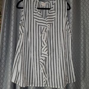 NWT MERONA XXL   Black &White Striped    Blouse